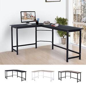 Details about L-Shaped Gaming Computer Desk Wood Corner PC Workstation