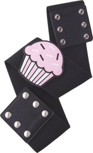 67046 Vintage Cupcake on Wide Black Stretch Belt Sourpuss Pinup Retro XX-LARGE