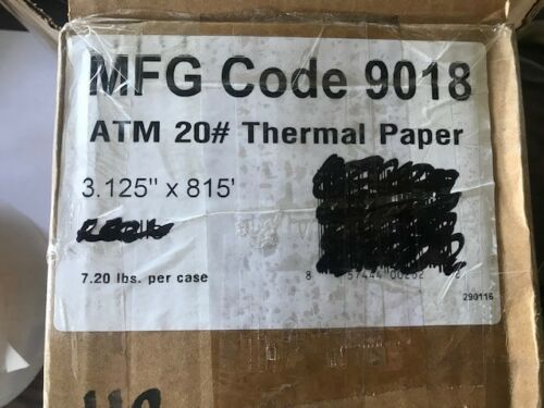 "# 20 THERMAL PAPER 3.125/"" X 815/' MFG CODE 9018 1 NEW ROLL OF ATM 20 #"