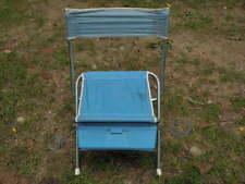 Vintage Aluminum and Blue Nylon Folding Camp Hunt Stool Chair w/Back Metal  F