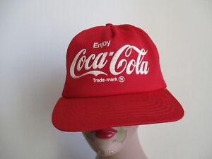 b9ca94078c8 Vintage COCA COLA 70s or 80s Red Trucker Hat Cap Mesh USA COKE