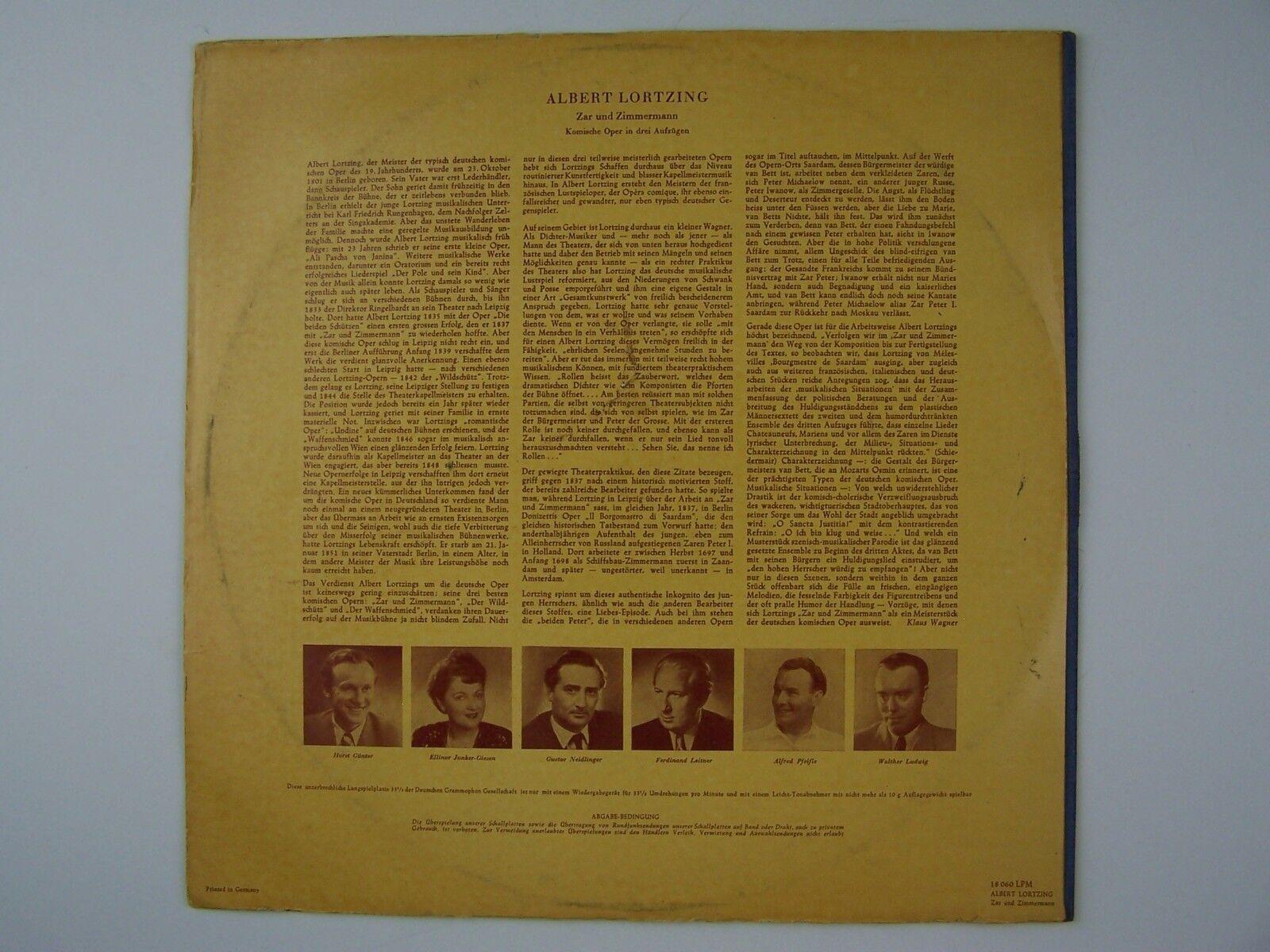Albert Lortzing - Zar Und Zimmermann Vinyl LP Record Al