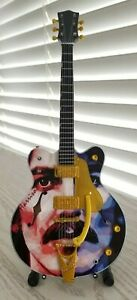 Miniature Guitar GEORGE HARRISON with Stand Frame 5X7 The Beatles Photo