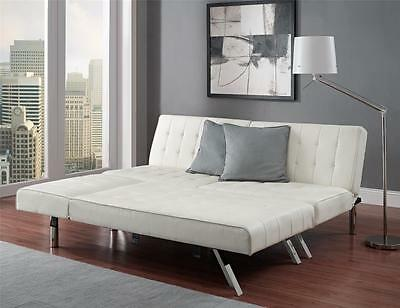 White Faux Leather Futon Sofa Couch Bed Sleeper with Chaise Lounger Chic Modern