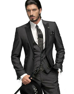 90f4e272d9 Dettagli su abiti su misura nero vestito matrimonio uomo 3 pezzo smoking  uomo eleganti slim