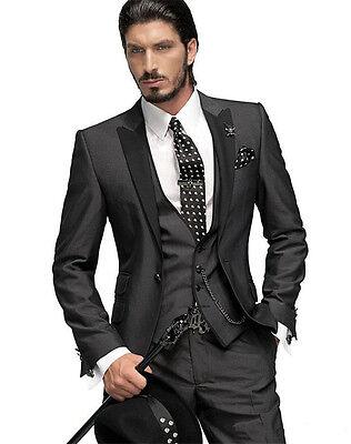 Vestito Matrimonio Uomo Nero : Abiti su misura nero vestito matrimonio uomo 3 pezzo smoking uomo
