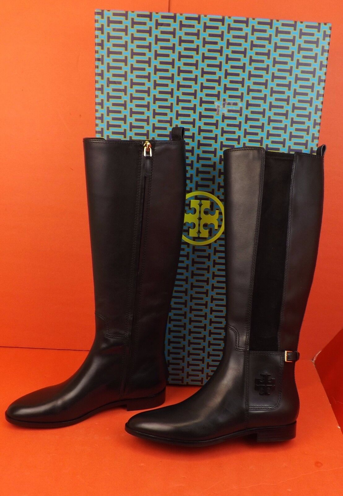 NIB TORY BURCH WYATT BLACK LEATHER BLACK REVA TALL ELASTIC RIDING ZIP BOOTS 7.5