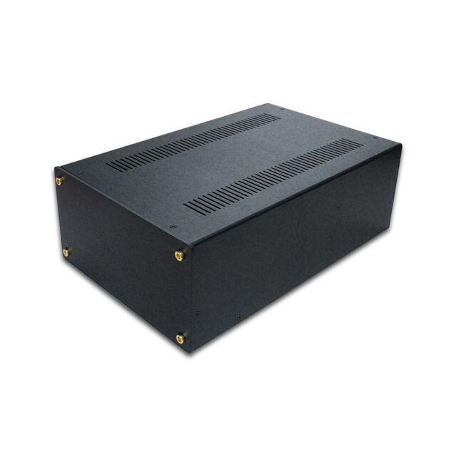"SL9155B 10"" DIY FULL BLACK Aluminum Audio chassis Amplifier Chassis Enclosure"