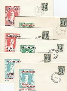 Stamp Centenary of 1st Queensland stamp issue set of 6 Royal FDC's, unaddressed