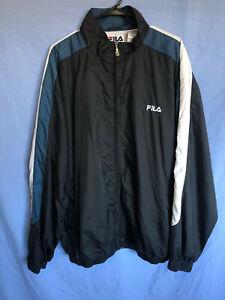 Vintage-FILA-Full-Zip-Track-Jacket-Wind-Breaker-Men-039-s-Size-XXL-Black-Blue-White