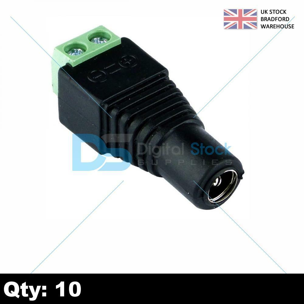10 Pcs 2.1x5.5mm Male Jack DC Power Adapter Connector Plug for CCTV Camera P7C2