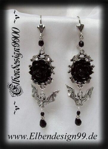 ^v^Ohrschmuck*Rose & Vampire*larp*Gothic*earrings*bat*Fledermaus*Strass*black^v^