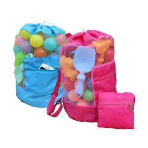 Travel-Foldable-Beach-Toy-Bag-Sand-Away-Beach-Storage-Pouch-Mesh-Bag-Drawstring