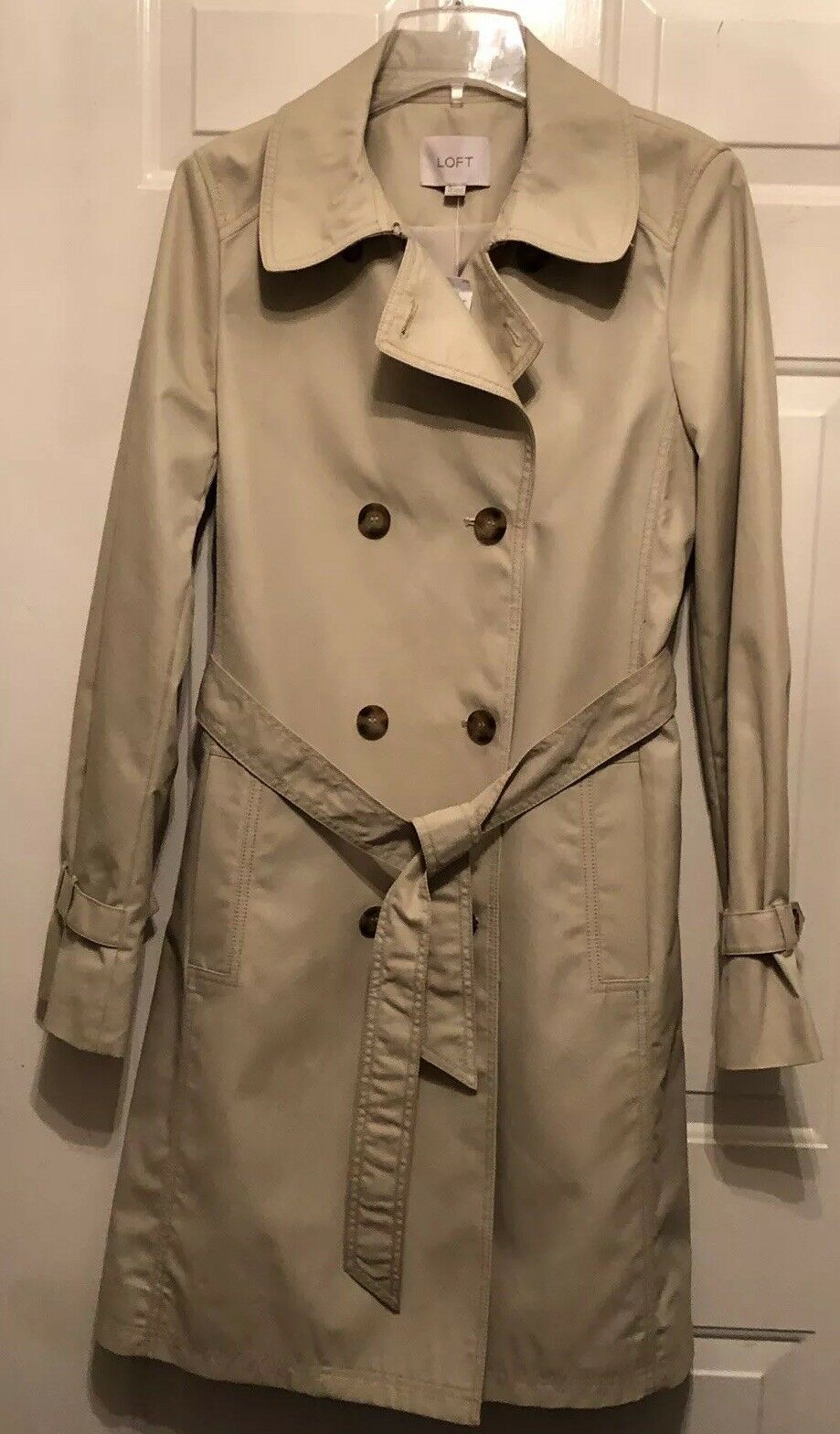 NWT Ann Taylor Loft Beige Tan Trench Double Breasted Coat With Belt Size 6 Tall