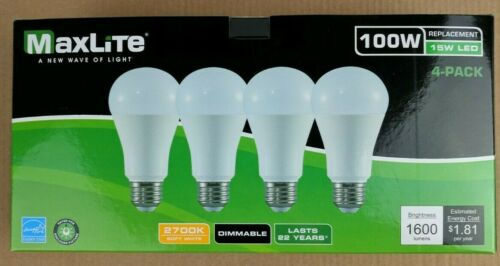 12 Bulbs LED 15W Soft White 2700K A19 100W Replacement Maxlite Dimmable Pack