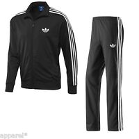 Adidas Original Mens Firebird Tracksuit Black Two Piece Set 3 Stripe Jog Suit
