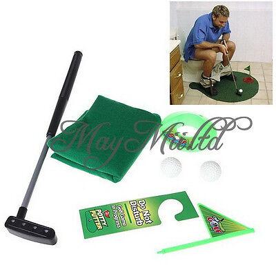 Golf Toilet Bathroom Mini Golf Set Potty Putter Toilet Golf Game Putting Green H