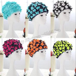 3deb2e43c7d Adult Women 3D Petal Floral Swim Cap Petal Retro Swimming Hat ...