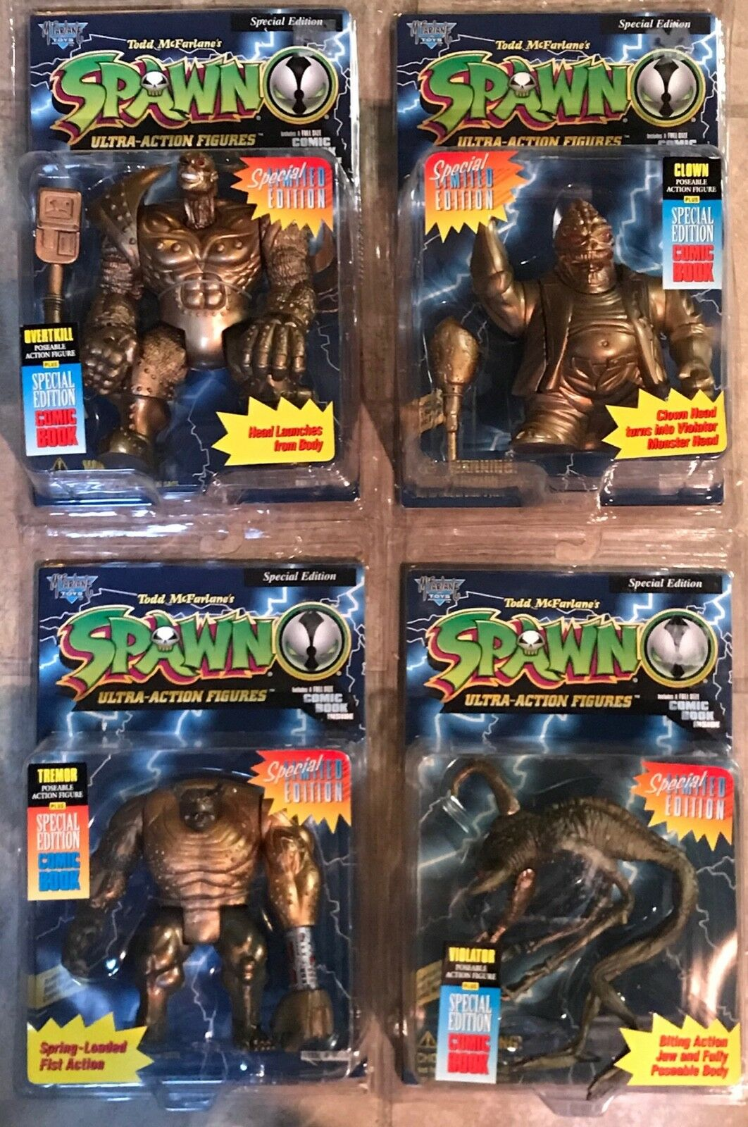 SPAWN 4 Special Limited Edition Figures purpletor Tremor Clown Ogreenkill MOC 1996