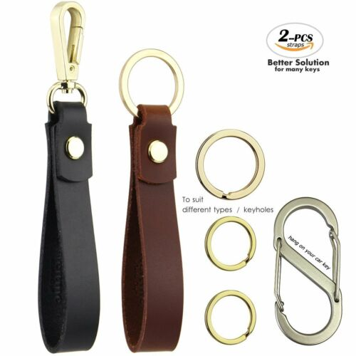 Leather Car Key Chain for Men and Women Kit Includes Black Valet Key Chain Fob