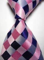 New Classic Checks Pink Purple White JACQUARD WOVEN 100% Silk Men's Tie Necktie