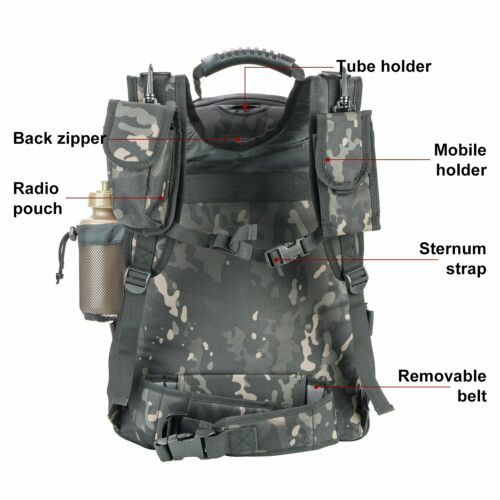 ARMYCAMOUSA 40L 64 L Outdoor 3 Day Expandable Tactical Military Sport Backpack