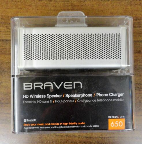 Braven® 650 Portable Wireless Bluetooth STEREO Speaker for iPhone Android-Silver