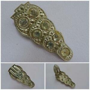 Vintage-1930s-Dress-Clip-Brooch-Rhinestone-Aluminium-Clear-Paste-Stones-Ladies