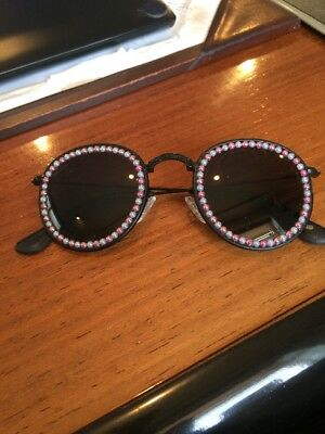 Freda Banana Black Metal Framed Frame Wrapped In Faux Leather Beads Around Lens