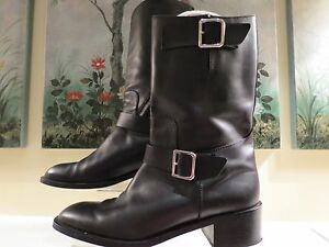 womens authentic chanel black leather motorcycle zip mid