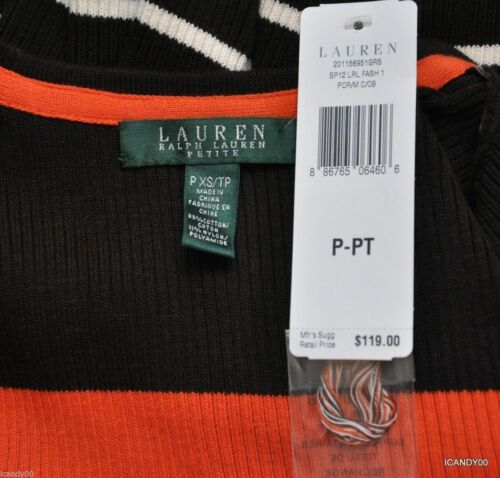 Krystoff Ralph Nwt Stripe V 119 Cardigan hals Xs Lauren Brown Sweater qHHBtrR