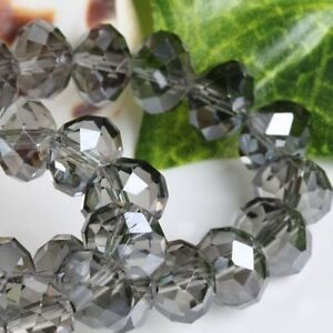 100 (±3) PCS , 4 X 6 mm Faceted Gray Grey Crystal Gemstone Abacus Loose Beads