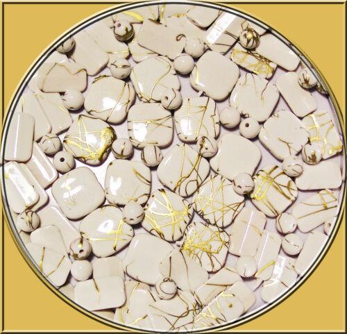 30 edle acryl Perlen weiss Mix mit Goldfäden 8-18 mm Fädelloch ca 1 mm Ketten