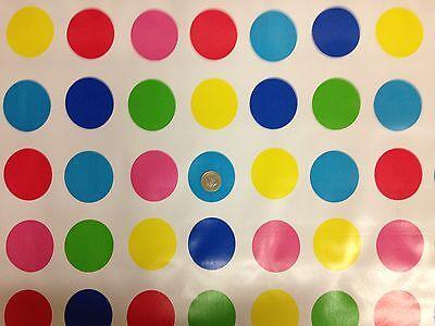 Vinyl PVC Tablecloth * MULTI-COLOUR DOT PATIO * Wipe Clean Oilcloth *140cm Wide*