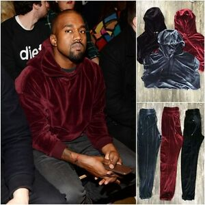 kanye west yeezy velour velvet tracksuit hoodie pants. Black Bedroom Furniture Sets. Home Design Ideas