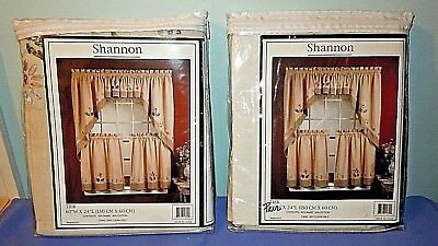 2prs Curtains Shannon Tier Shabby Chic Rustic Beige Pink Ribbon Flowers NEW