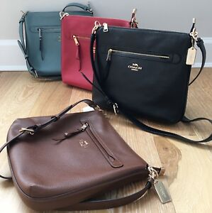 e95368930e Image is loading New-Coach-F34823-Mae-Crossbody-Pebble-Leather-Bag