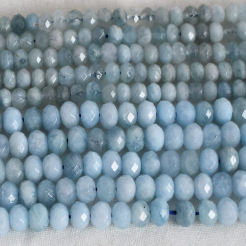 Grade A Natural Aquamarine Gemstone FACETED Rondelle Beads 3mm 4mm 6mm 8mm