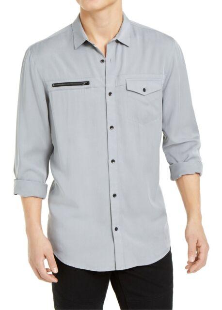INC Mens Shirt Light Gray Size XL Zip-Detail Front Pocket Button Down $65 #003