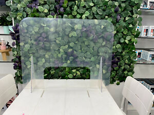 """SNEEZE GUARD CLEAR ACRYLIC TABLE DIVIDER CHECKOUT COUNTER 30/""""w x 24/""""h."""