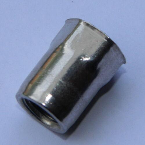 50 St.Edelstahl Blindnietmutter M3 kleiner Senkkopf Teil-6-kant  offen 0,3-1,5mm