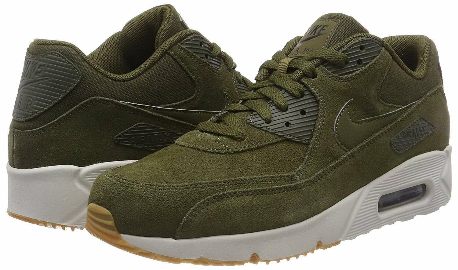 NEW Nike Air Max 90 Ultra 2.0 LTR Men's Olive Canvas Leather Green 924447 301