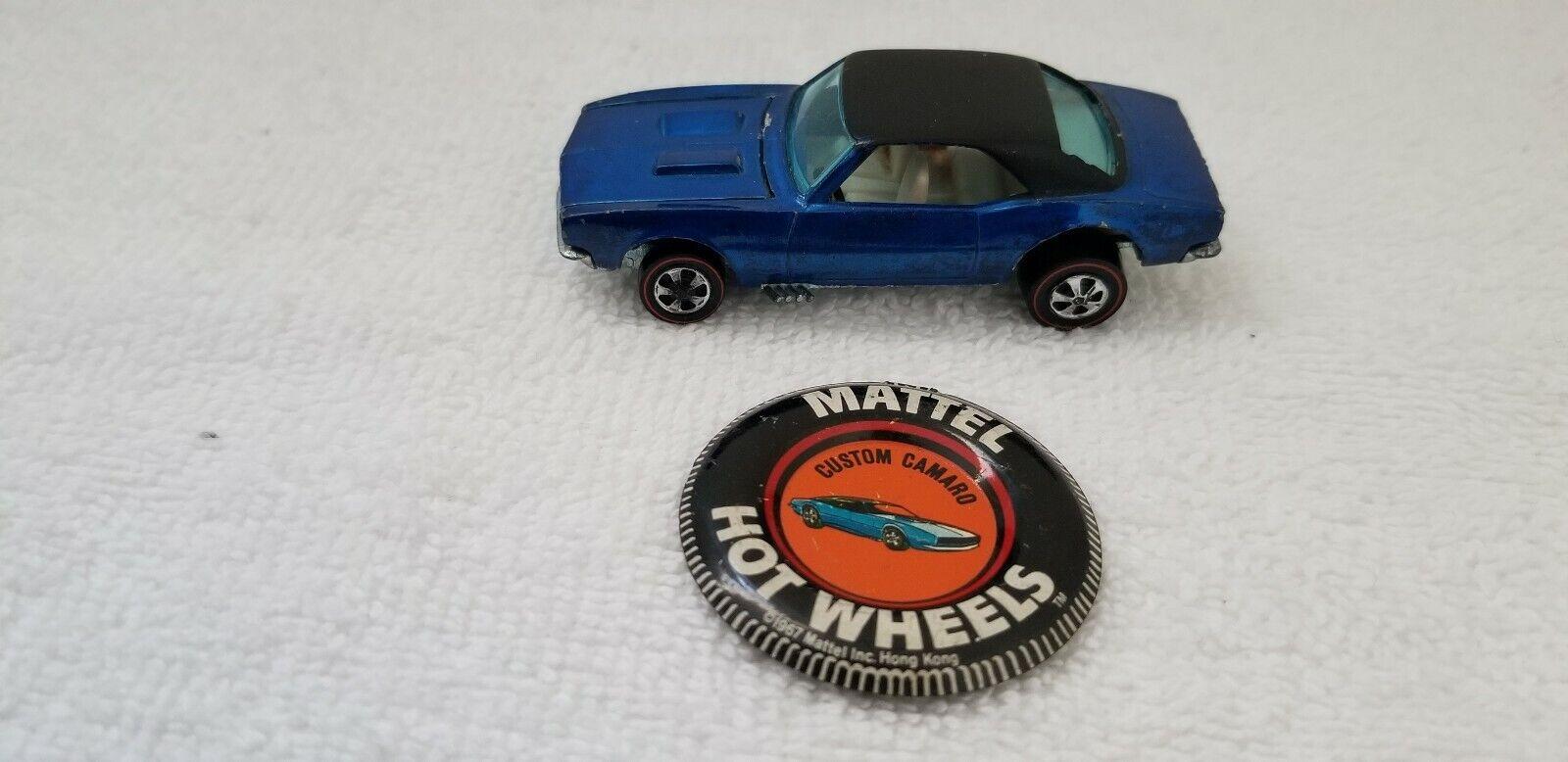 bajo precio 1967 Hot Wheels rojoline Personalizado Camaro Azul Con Con Con Tapa Negra con Botón Insignia  ofrecemos varias marcas famosas