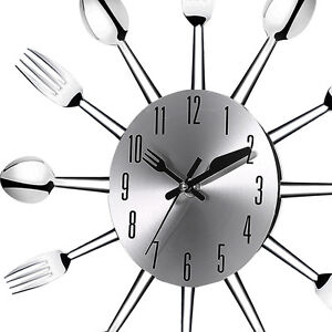 Image Is Loading Wall Clock Stainless Steel Kitchen Watch