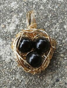 14kt-Gold-Filled-Bird-039-s-Nest-with-Black-Obsidian-Beads