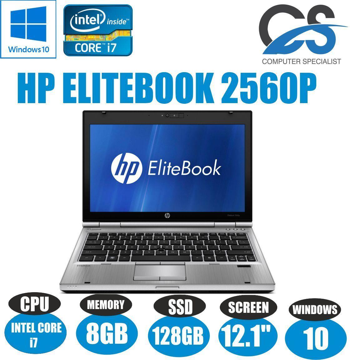"hp elitebook 2560p 12.1"" laptop intel core i7 2620m 8gb ram 128 ssd"