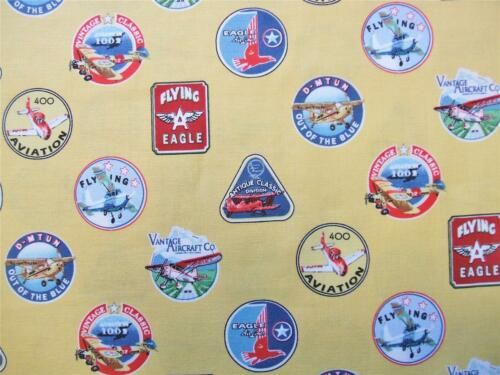 Flying High Aviation Emblems Yellow Airplane Exclusively Quilters Fabric Yard