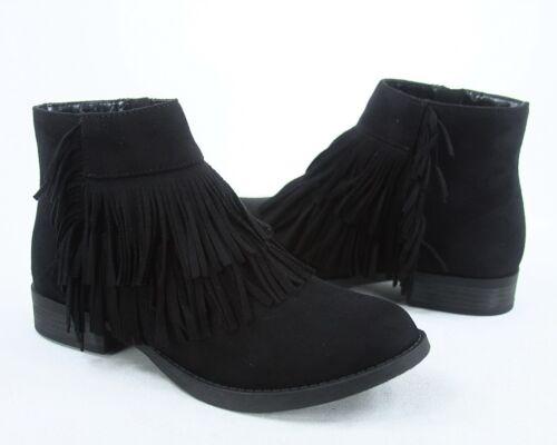 NEW Women/'s Zip Fringe Low Heel Almond Toe Ankle Booties Shoes Size 5.5-10