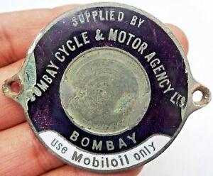 Vintage-Mobiloil-Advertise-Sign-Badge-Bomby-Cycle-amp-Motor-Agency-Ltd-Porcelain
