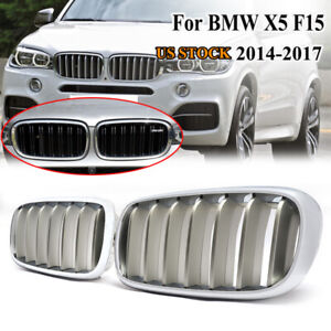 2014-2017 X5 F15 X6 F16 Glossy Black Sport Kidney Double Line Front Grille Grills Pair